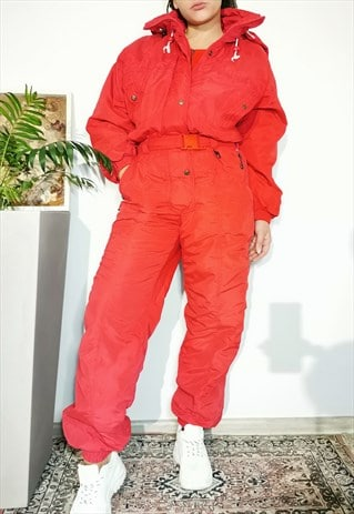 Vintage 80's red full ski snow puffer overall jumpsuit