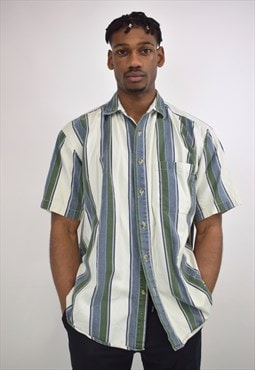 Vintage 90s Blue Green Cream Stripe Shirt