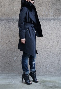 Black Trench Coat/Waistcoat/Belted/Oversized/Summer/F1678