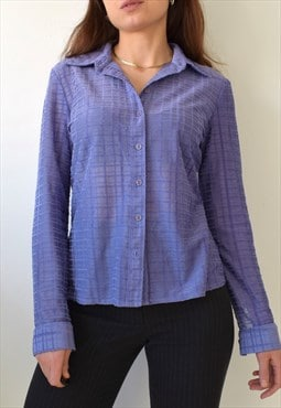 Vintage 90s y2k sheer mesh lilac lavender check shirt top