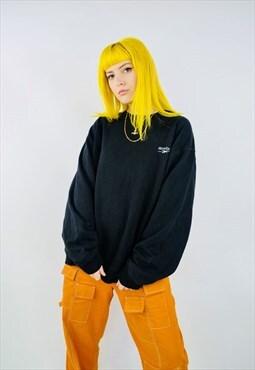 Vintage Reebok Black Oversized Embroidered Sweatshirt