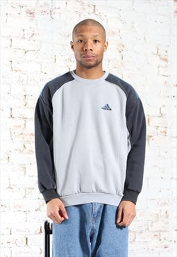 Vintage Adidas Embroidered Logo Sweatshirt Blue