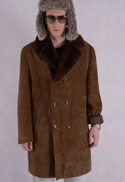 90's Genuine leather brown men's Faux sheepskin Short coat