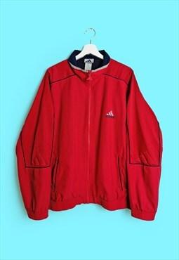 Vintage 90's ADIDAS 3 Stripes Logo Oversized Jacket Red