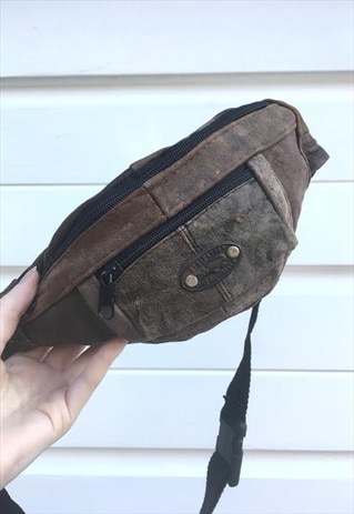 UNISEX BROWN LEATHER BUMBAG FANNY PACK 80S 90S FESTIVAL