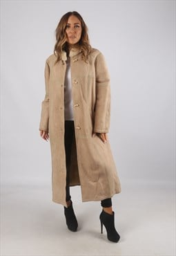 Vintage Sheepskin Suede Shearling Coat Long UK 16 XL (9AD)
