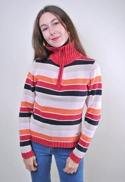 Striped zipped up women vintage sweater