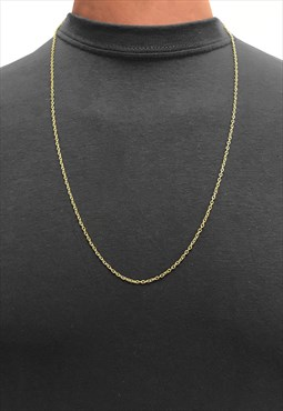 "32"" Gold Plated Slim Curb Necklace Chain - Gold"