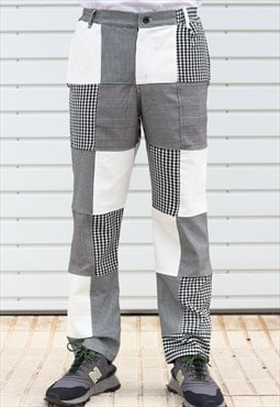 Handmade Patchwork Pants in Corduroy and Houndstooth (1/1)
