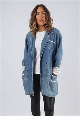 Denim Jacket Longline Long Oversized Blazer UK 14 (K7O)