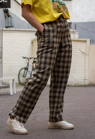 90S VINTAGE GRUNGE CHECKED PYJAMAS GOLF PANTS