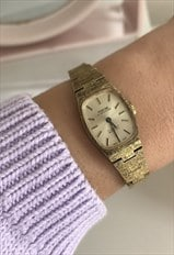 Vintage 1960s Gold Tone Ladies Wind Up Wrist Watch