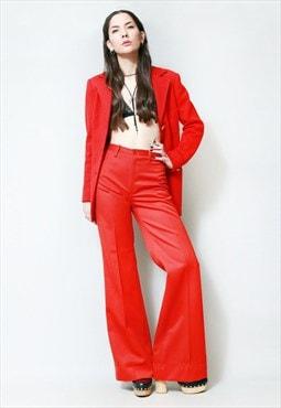 Vintage 1970's Cherry Red Wool Tailored Blazer Jacket