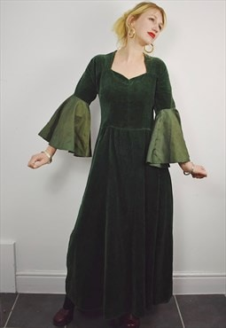 Vintage 70s Corduroy Prairie Dress Green Maxi