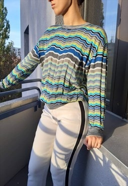 Vintage Y2k Classic Missoni Striped Monogram Sweater