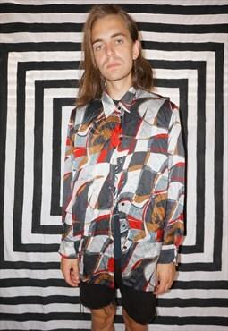 Vintage 90's Patterned Silk Shirt