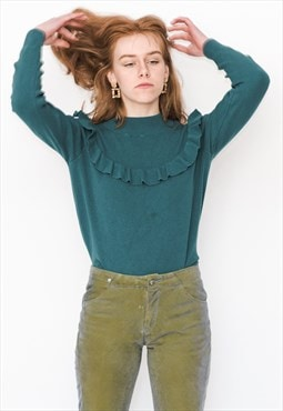 Vintage 90s cute jumper in teal blue
