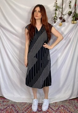 vintage 90s dress striped midi dress 90s black summer dress