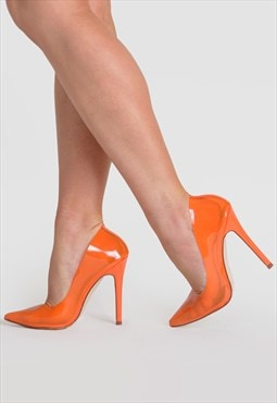 Kate Stiletto Heel Court Shoes in Orange Perspex