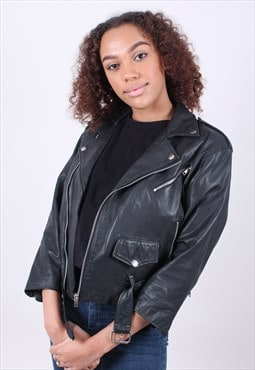 Vintage 90s Black Leather Biker Jacket C&A