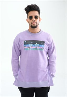 Purple 'Game over' Relaxed Organic Bamboo Sweatshirt