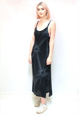 1990s vintage black and grey tie dye cami midi dress