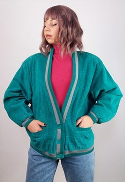 Vintage 80's Real Suede Jade Green Oversized Leather Jacket