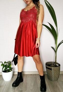 Vintage 90's red underwear lace mini slip dress