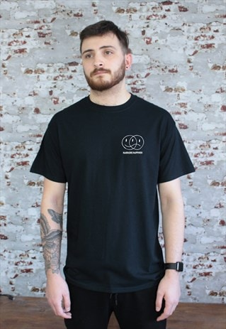 Hardcore Happiness print cotton T-shirt in Black