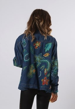 Denim Jacket Embroidered Oversized LINED UK 16  (D73T)