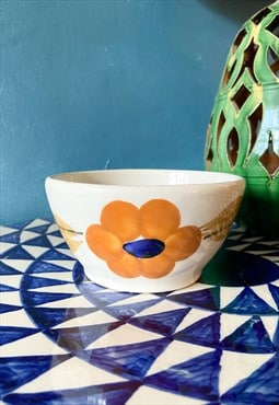 Vintage 70's Hand Painted Floral Ceramic Bowl