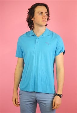 Blue Puma Vintage Polo T shirt