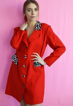 Vintage 80's animal print detailed red mini blazer dress