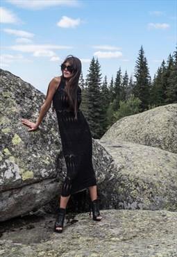 Black Knit Dress Cozy Sweater Dress Casual Handmade F1711