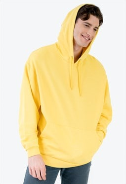 Oversized Basic Hoodie in Yellow with Pouch Pocket