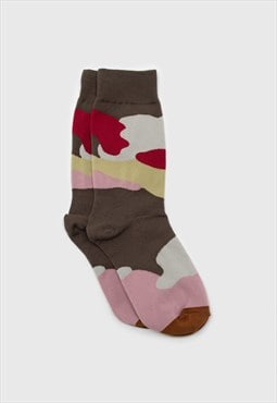 Khaki and red camo print sock