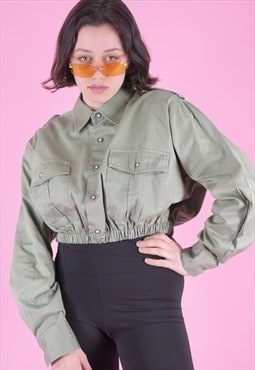 Vintage Reworked Crop Shirt in Faded Army Green