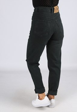 High Waisted Denim Jeans Tapered Leg UK 6 - 8  (C2EC)