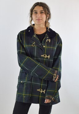 Vintage 90s Green Tartan Ralph Lauren Trench Coat Jacket