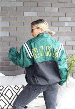 Vintage 1990s Rare Nike spell out embroidered jacket
