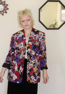 Vintage 1980s abstract floral blazer