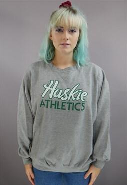 Vintage Varsity Sweatshirt In Grey With Spellout Logo