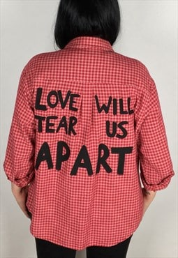 Love Will Tear Us Apart Hand Painted Red Check Shirt Size 12