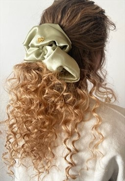 Sophia giant olive satin scrunchie