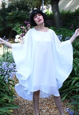 Pure white Butterfly Sleeves oversized design Party Dress CY