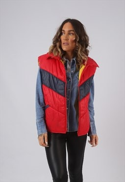 Vintage Gilet Jacket Fitted Red UK 18 (ELAJ)
