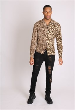 I bring the party - spliced leopard print long sleeve shirt