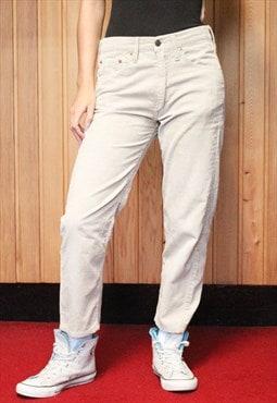 Vintage 1990s Levi's Beige Cord Cropped Paint Jeans