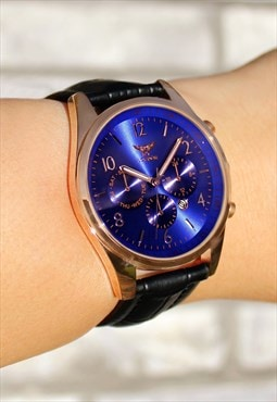 Classic Rose Gold & Indigo Watch with Date