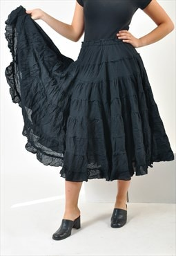 Vintage 90's maxi full skirt in black
